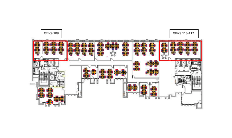 Floor plan shows 20 person private office (108) and 24 person private office (116-117)