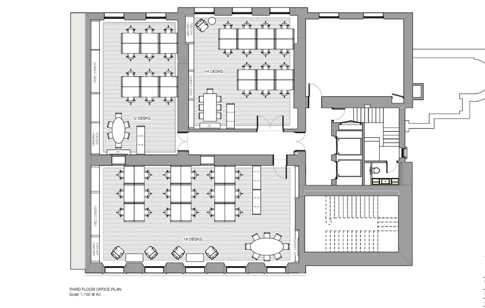 Floor plan shows 12, 14 and 18 person private offices - collectively show floor plan for 45 and 50 person private offices